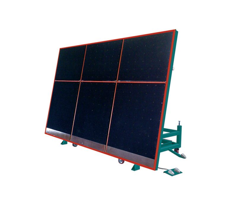 Air float glass tilting breakout table
